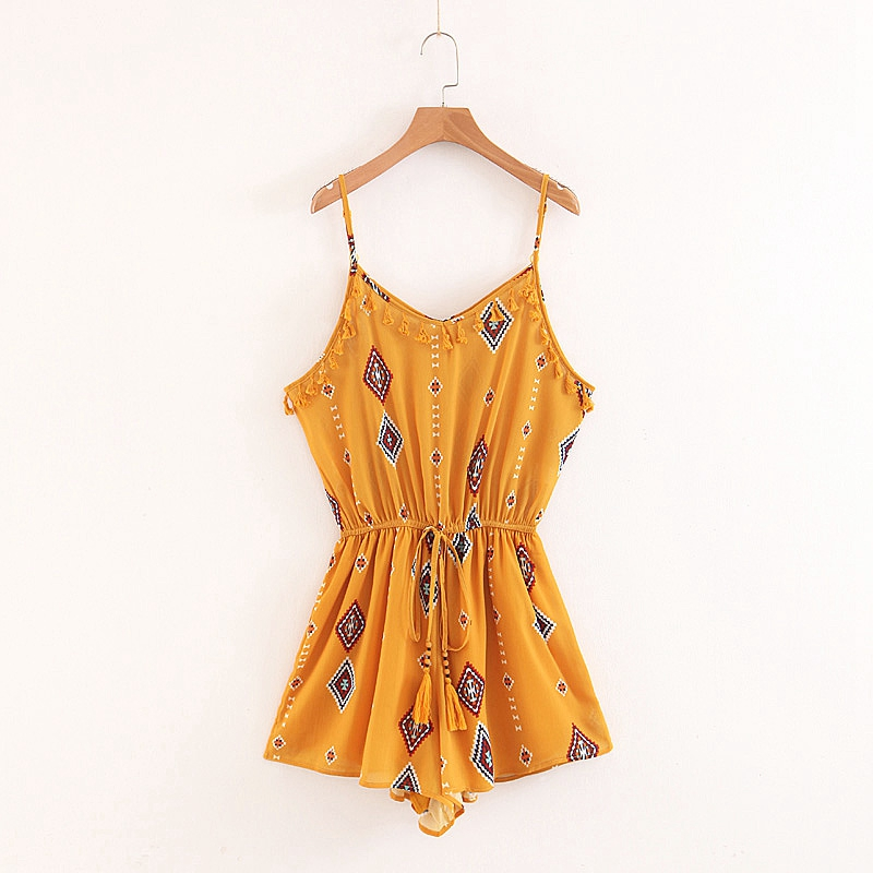 Summer Women Ethnice Print Waist Playsuits Sleeveless Tassel Rompers Casual Slim Beach Shorts XB8117