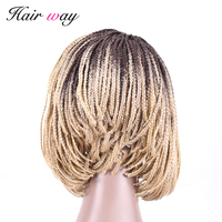hair way 6inch Bob Afro Box Braided Lace Front Wig with Baby Hair 1b or 27/30 Dark Root Brown Burgundy Blond Mixed Synthetic wig
