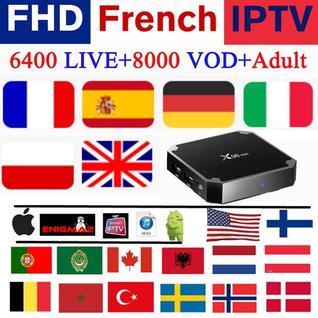 X96 mini Francia francesa iptv Europa árabe Bélgica Alemania Italia Reino unido España Canadá 4 K suscripción m3u android smart ip tv box