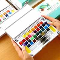 12/24/36 couleurs vives solide ensemble de couleurs de l'eau Portable peint à la main aquarelle Pigment Transparent ensemble de dessin complet