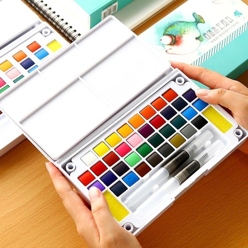 12/24/36 cores brilhante conjunto de cor de água sólida portátil pintados à mão aquarela pigmento transparente conjunto de desenho completo
