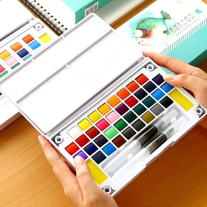 Conjunto de 12/24/36 colores brillantes de Color sólido agua pigmento de acuarela portátil pintado a mano conjunto de dibujo completo transparente