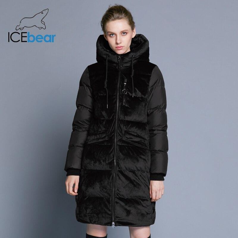 ICEbear2018 neue hohe qualität winter samt jacke dicke warme frauen parka kleidung mode casual frauen marke mantel GWD18080