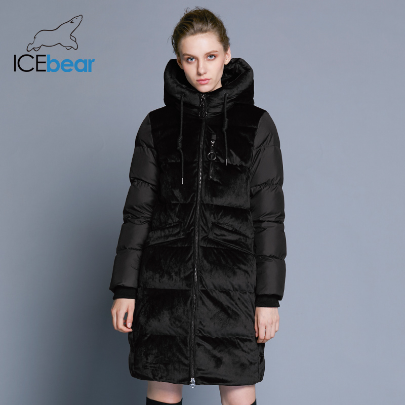 Icebear2018 New Excessive High quality Winter Velvet Jacket Thick Heat Ladies's Parka Clothes Vogue Informal Ladies's Model Coat Gwd18080