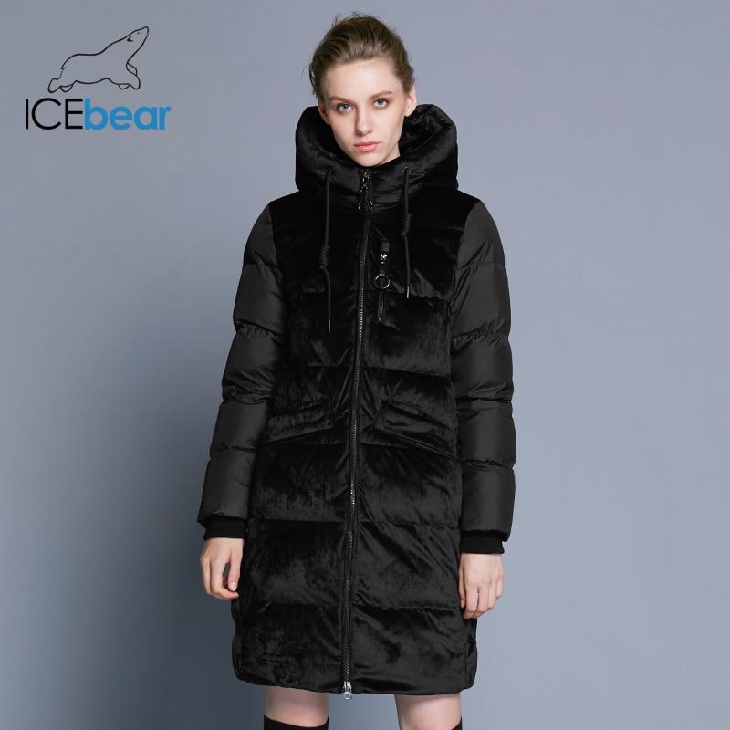 ICEbear2018 nuevo alta calidad de terciopelo de invierno chaqueta gruesa caliente de las mujeres parka ropa de moda casual de las mujeres abrigo de marca GWD18080