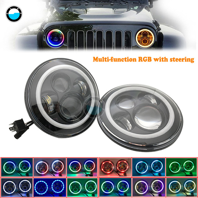 7 Inch Rgb Led Car Headlight Angelic Eyes Round High Low  Headlight Sealed Beam With Bluetooth for Jeep Beetle Lada Niva .