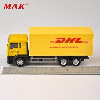 1 64 skala modelu samochodu Diecast ciężarówka Express DHL Model ciężarówki żółty pojemnik do przewozu dla dzieci zabawki dla dzieci prezent