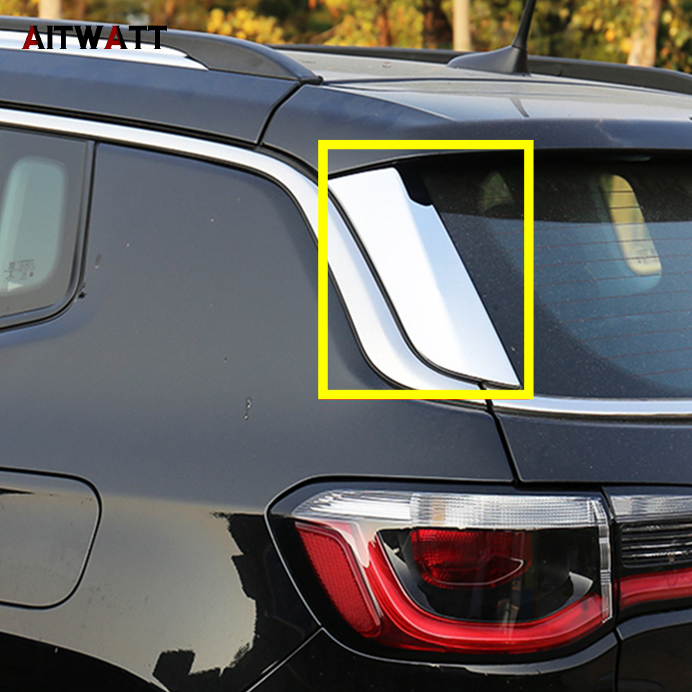 Car Accessories ABS Chrome Rear Window Spoiler Side Triangle Cover Trims 2Pcs/set For Jeep Compass 2017 2018 Second Generation
