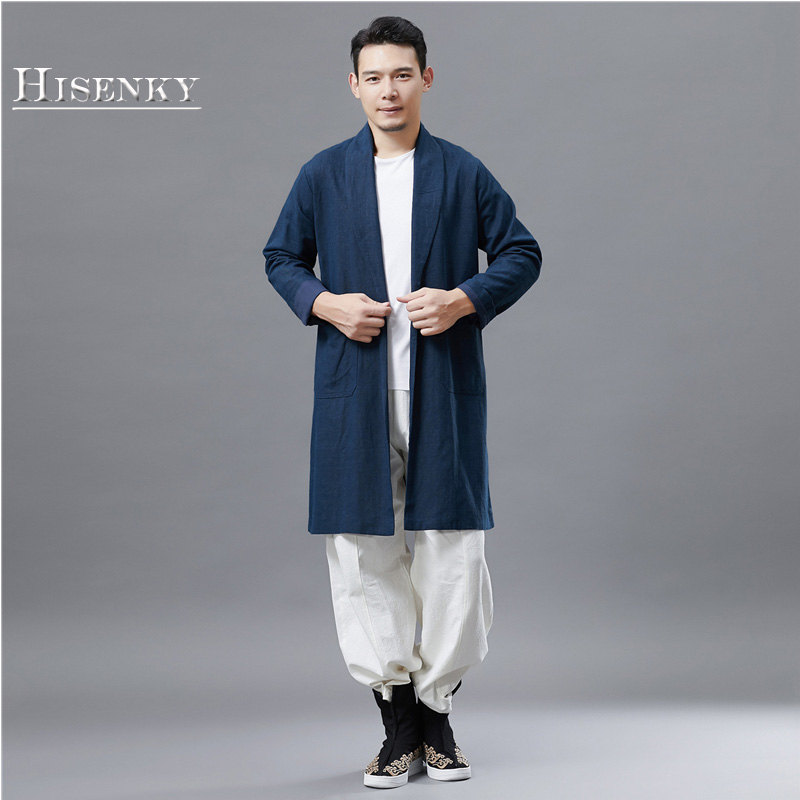 Hisenky 2018 Autumn Windbreaker High Qulity Vintage Chinese Style Trenchcoat Men's Long Sleeves Solid Color Slim Cardigan Jacket