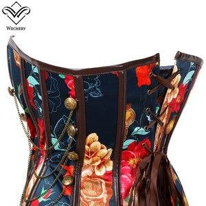 Image 3 - Wechery 꽃 인쇄 코르셋 빈티지 Bustier 탑 체인 장식 뼈 Corselet 파티 쇼 코스프레 의상