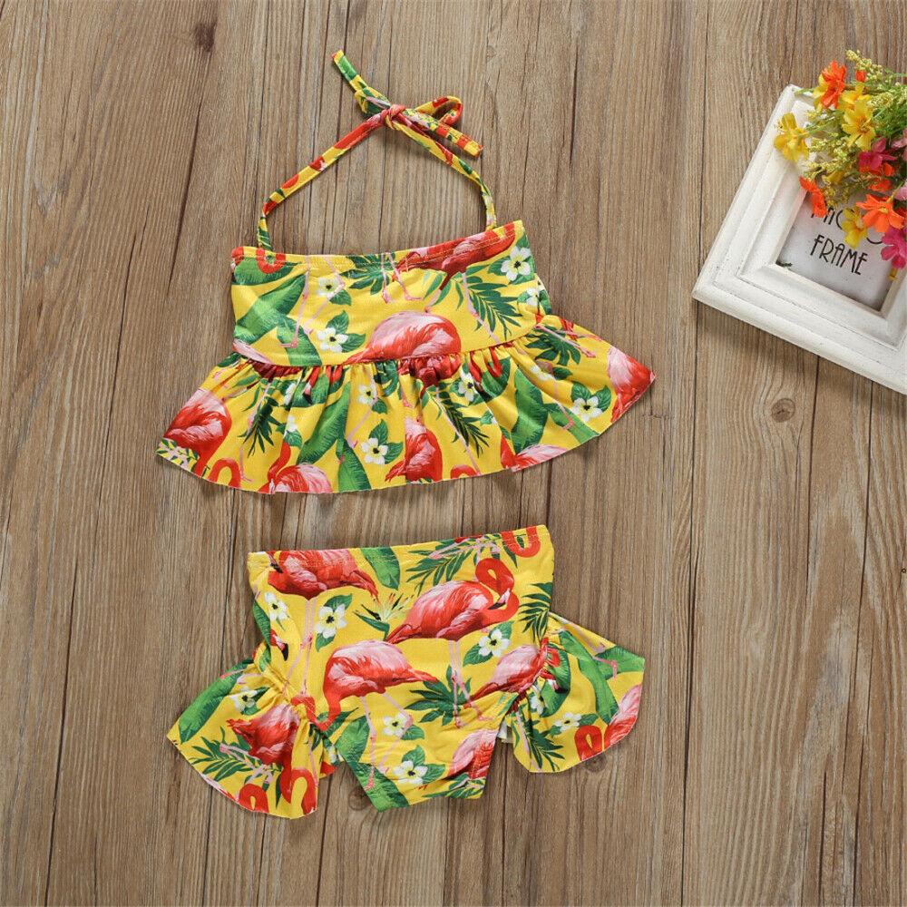 Swimwear Pudcoco 2019 Brand Summer Kids Baby Girl Bikini Suit Bowknot Flamingo Swimwear Beachwear Swimming 1-6y Complete In Specifications