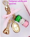 Fashion Macarons Cake Keychain With Box France Paris LADUREE Effiel Tower Macarons Keychain Bag Charm Accessories Best Gifts