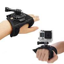 360 Degree Rotation Glove style Wrist Hand Band Mount Strap For GoPro Hero 4 Hero 4 Session 3+ 3 2 Xiaoyi Action camera купить дешево онлайн