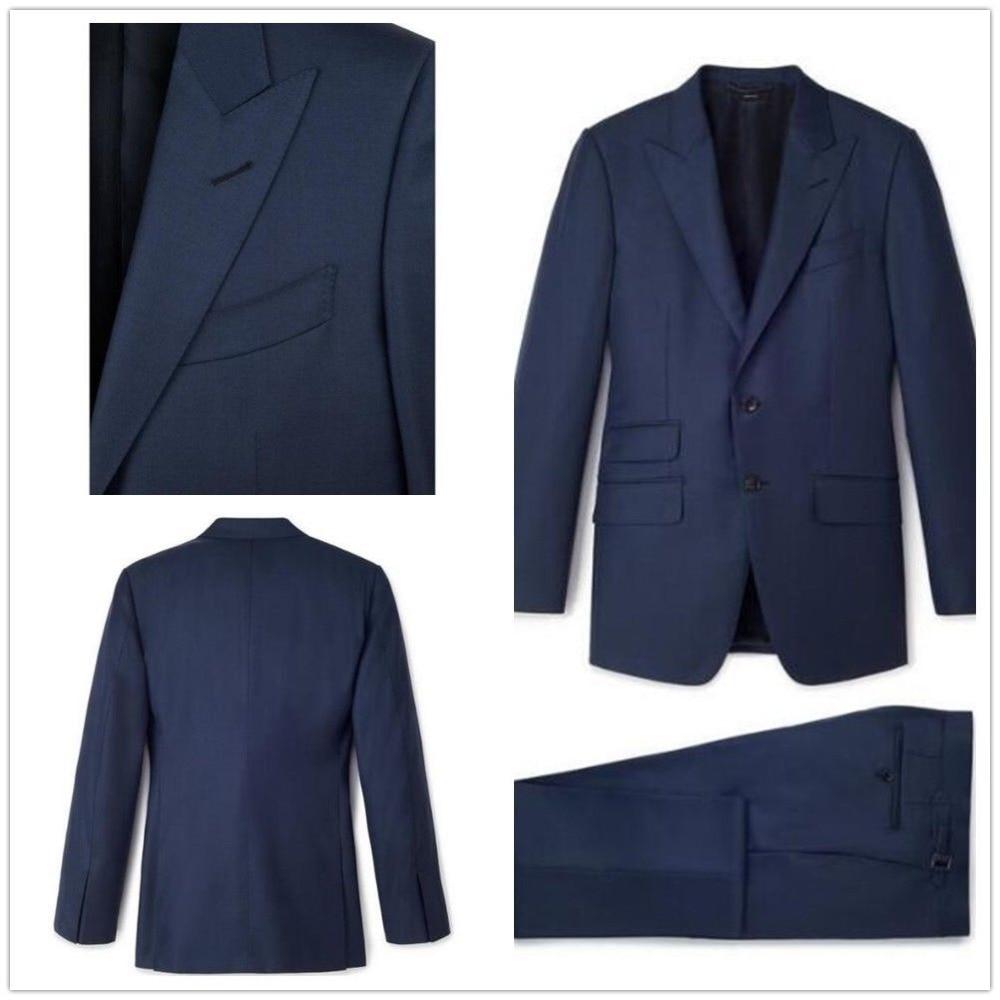 Dark Navy Tuxedos Men's Suits Jacket Pants Two Button 38 40 42 44 46 48+ Custom