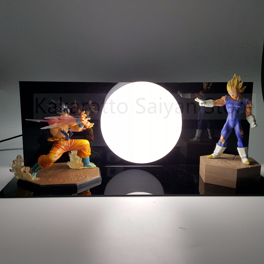 Dragon Ball Z  Action Figures Son Goku vs Evil Vegeta Super Saiyan Anime Dragon Ball Light  Model Toy DBZ +Bulb+Base dragon ball z god goku super saiyan led light action figures anime dragon ball z dbz fes god son goku table lamp room decor