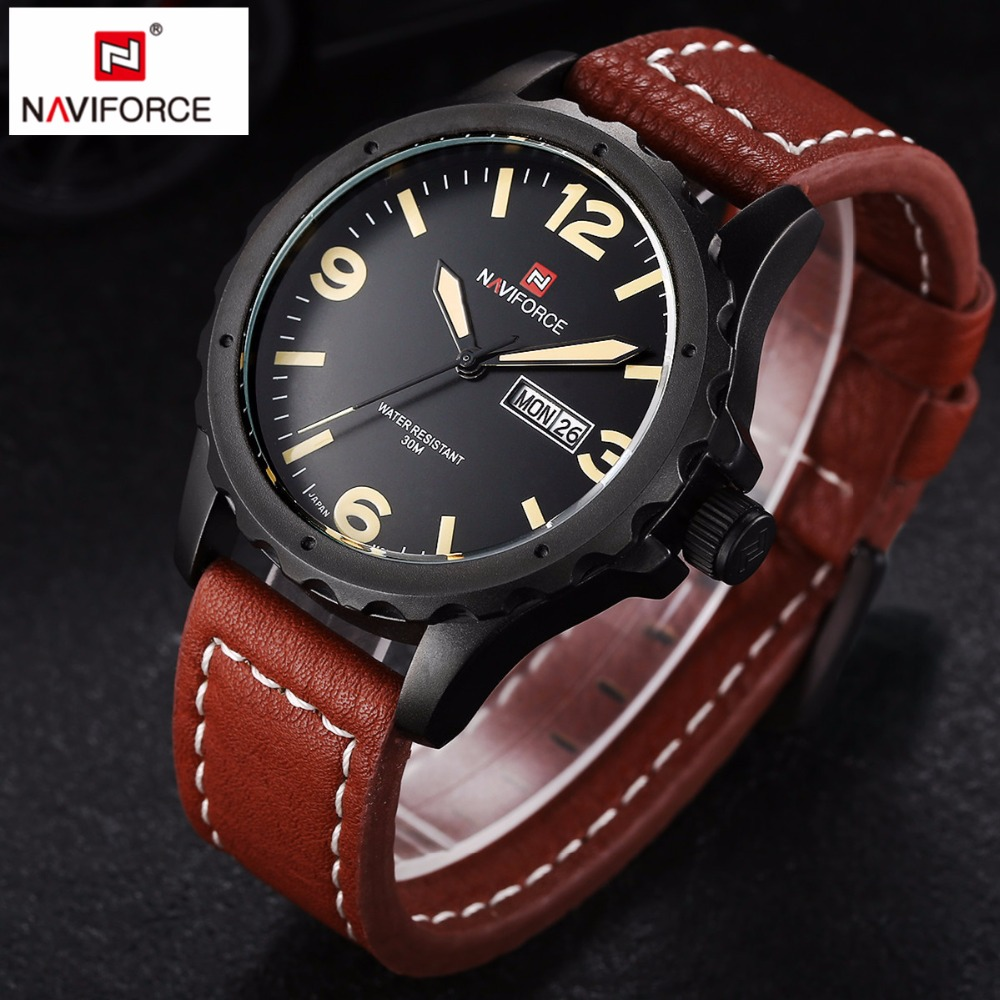 NAVIFORCE Top brand luxury Army Military quartz watch Leather Sports Watches Male fashion casual wrist watch