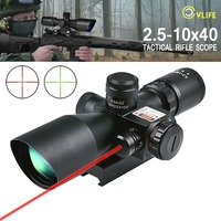 CVLIFE Rifle Scope 2.5 10x40 e Red & Green Illuminated Gun Scopes Hunting Gunscopes riflescope w/ Red Laser w/ 20mm & 11mm Mount
