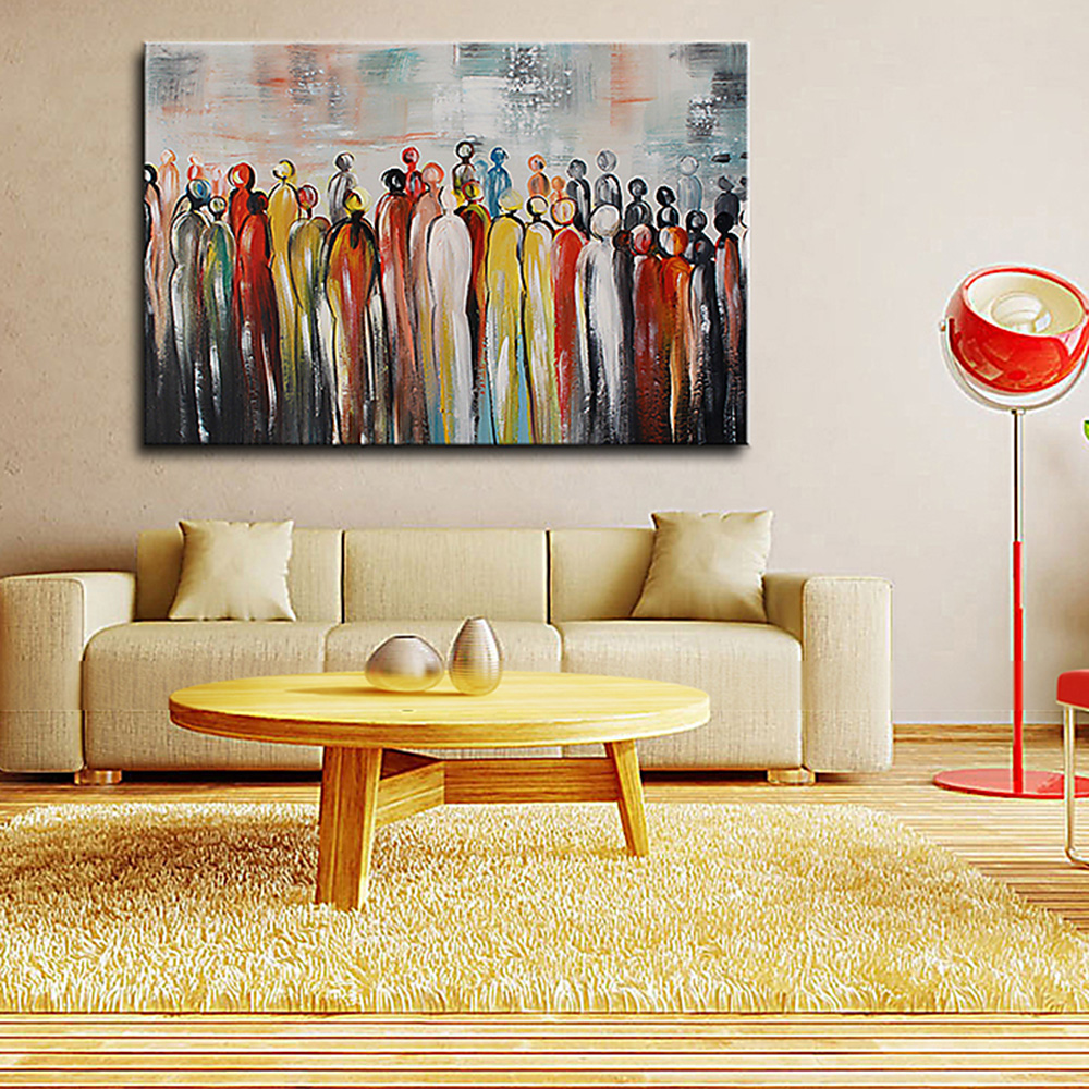 Modern Abstract Cartoon People Portrait Oil Painting on Canvas Hand ...