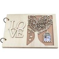 NHBR księga gości weselnych drewniana księga gości weselnych spersonalizowana księga gości w Pudełka na kartki ślubne od Dom i ogród na