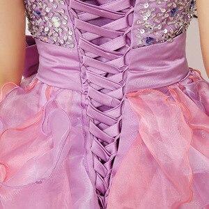 Image 5 - Babados coloridos mini vestidos de formatura puffy beading arco bonito cristal querida formal baile baile festa organza sd131