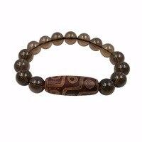 Naturel Pierre Smoky Quartzs & Tibétain DZI Perle Bracelet Total taille 7.5 ''-8.5''