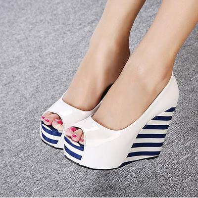 Sapatos de salto alto do dedo do pé aberto Sapatos Plataforma Cunhas das Mulheres Sapato tamanho 30 a 44