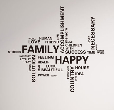 new design happy family letters wall sticker decals characters arts removal vinyl papers home living room TV sofa window decor