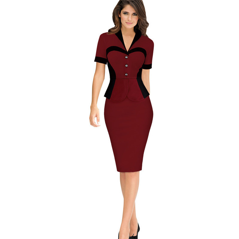 Detail Feedback Questions about Women Elegant Front Button Short Sleeve  Stretch Bodycon High Waist Knee Length Formal Peplum Work Office Lady  Victorian ... fa8385fcf889