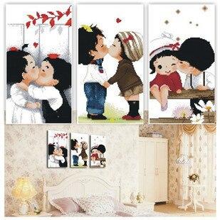 Juego de punto de cruz impreso de algodón szx para bordado conjunto de dos niños Kiss Married Series Big Picture 3 unids/lote Triptychs 134*48 cm