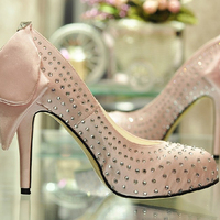 2018 Handmade High Heel Shoes New Style 4inch Heel Pink Rhinestone Prom Elegant bridal shoes Wedding Party Formal Shoes