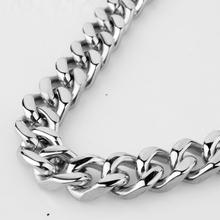 9/11/13/15mm Wide Cuban Curb Link Chain Mens Stainless Steel Polishing Silver Tone Bracelet Or Necklace Jewelry 7-40