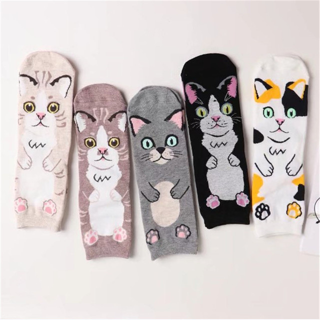 a3570a1469871 10 pairs/lot Women Cat Animal Short Socks Cute Funny Fashion Female Cat  Kitty Cartoon Casual Ankle Sock For Girls Wholesale-in Socks from Women's  ...