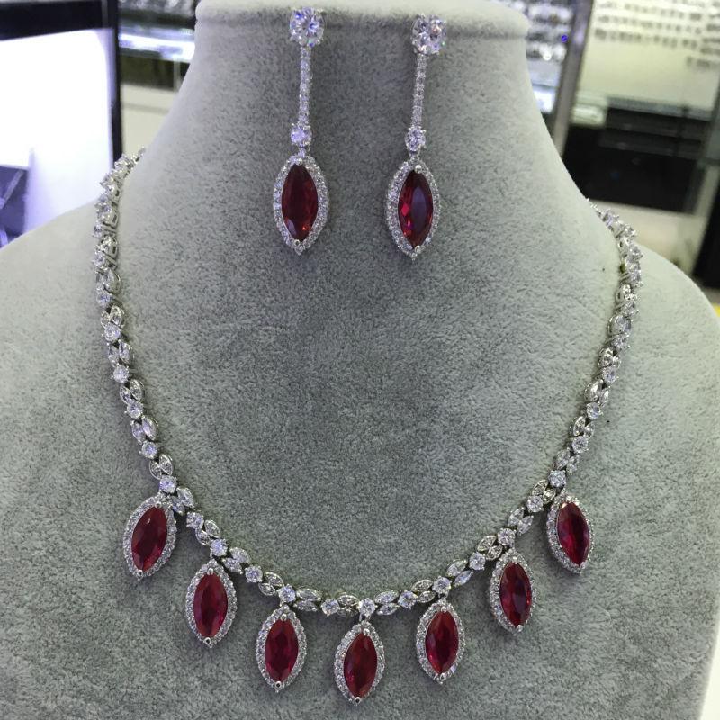 Newshe ovale rouge CZ rhodié collier boucles d'oreilles élégant bijoux ensembles cadeau pour les femmes JN156