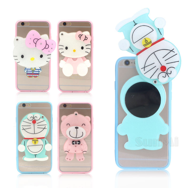 Hot Fashion Mirror Soft Silicone Cute Cartoon Bear Doraemon Case for Apple iPhone 6 6S Phone Case Back Cover Shell 4.7 inch