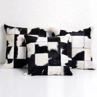 Natural Cowhide Pillowcase Hide Cushions Cow Fur Skin Leather Pillow Case