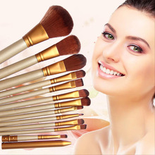 12 PCS Professional Wooden Cosmetics Makeup Brushes Set Brand Make Up Brushes Eyeshadow Eyeliner Lip Brush Tool Kit For Xmas a2