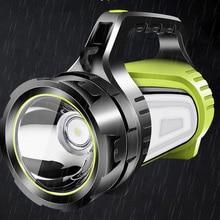 Linterna de mano de alta potencia para acampar y pescar, linterna USB de búsqueda, iluminación LED nocturna, luz lateral grande, antorchas