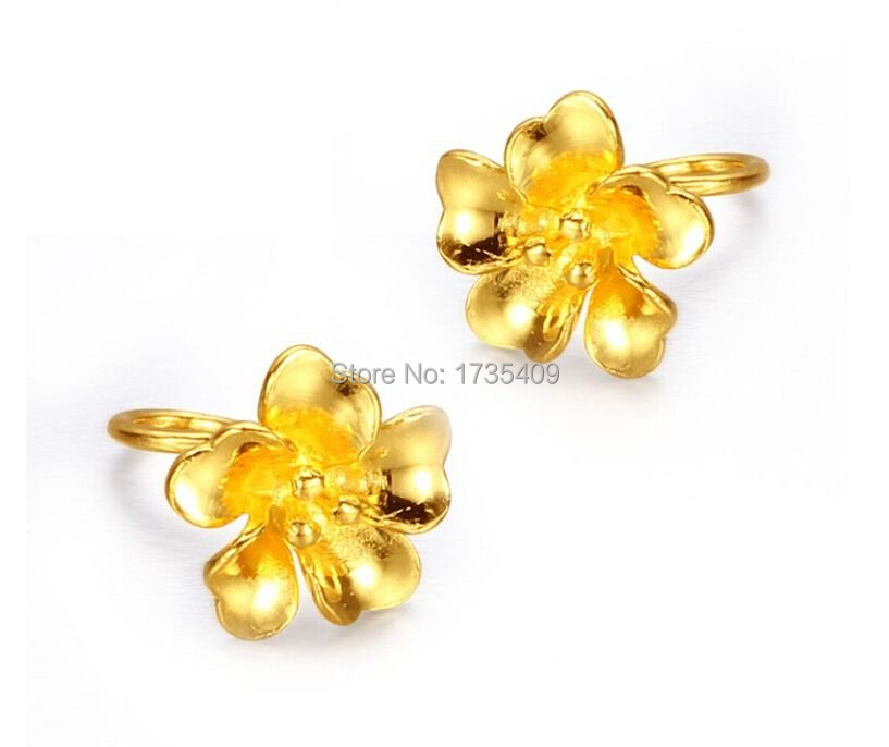 Pure Solid 24k Yellow Gold Earring Lucky Flower Earring Stud