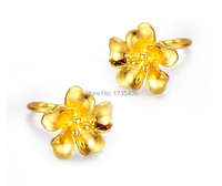 Pure Solid 24k Yellow Gold Earring/ Lucky Flower Earring Stud / 2.79g