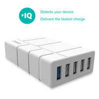 Delippo Quick Charger 2.0 5 Port Desktop Charging Station with Micro USB Cable For Qualcomm Certified