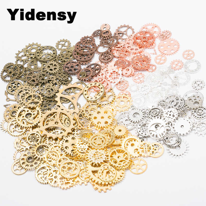 Yidensy About 100g/lot DIY Jewelry Making Vintage Metal Mixed Gears Steampunk Gear Pendant Charms Bronze Bracelet Accessories