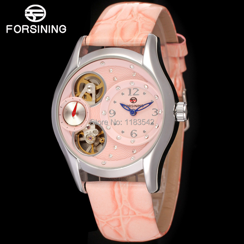 где купить  Famous brand FORSINING FSL8014Q3S3  new Quartz silver ladies wristwatch tourbillon blue leather  strap shipping  free  по лучшей цене