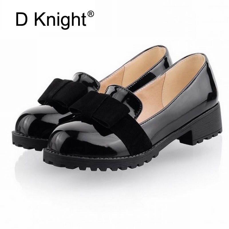 New Round Toe Slip-on Women Loafers Fashion Bow Patent Leather Women Flat Shoes Ladies Casual Flats Big Size 34-43 Women Oxfords brand fedimiro spring oxford shoes women patent leather pointed toe slip on flat loafers casual metal buckles ladies flats