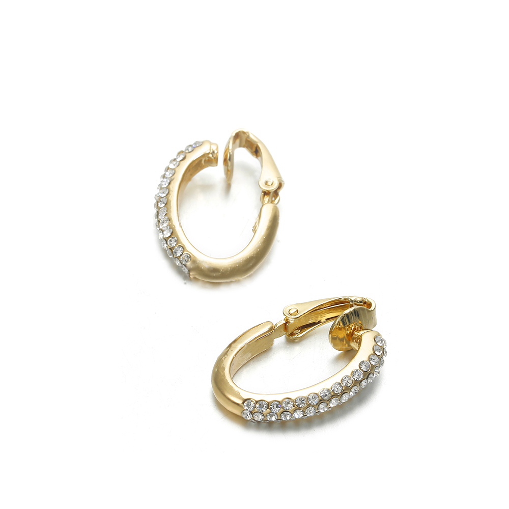 New Arrival Creative High-grade Elegant Crystal Clip on Earrings Without Piercing Gold Ear Clip Wedding Party Earrings for Women