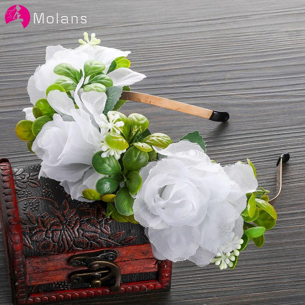 MOLANS Women Lace Rose Lovely Leaf Flower Crown Lady's Wedding Festival Flower Headpiece Fabric Handmade Flower Halo