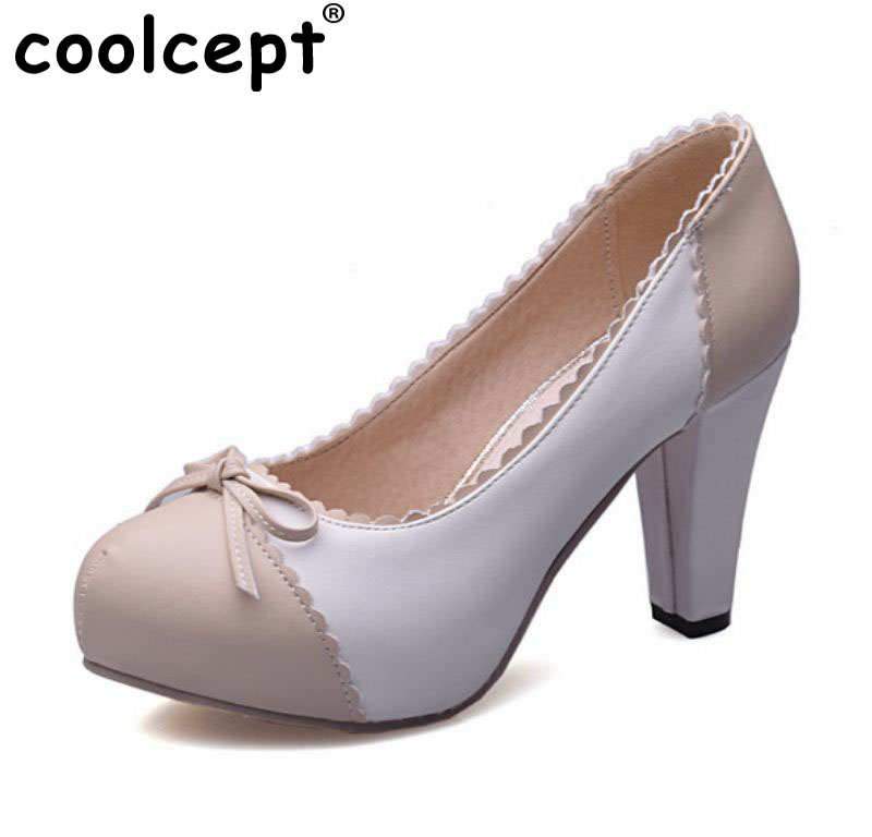 women high heel shoes round toe casual patchwork sweet fashion heeled brand bowtie spring pumps heels shoes size 33-48 P22740 new 2017 spring summer women shoes pointed toe high quality brand fashion womens flats ladies plus size 41 sweet flock t179