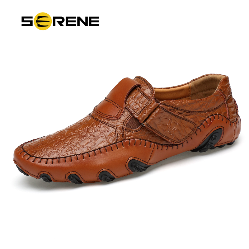 SERENE Brand Leather Fashion Summer Spring Men Driving Shoes Size 38-44 Casual Flat Slip-on Loafers Breathable Male Boat Shoes mapleliz brand breathable slip on solid moccasins shoes for men full grain leather high quality driving soft flat men shoes