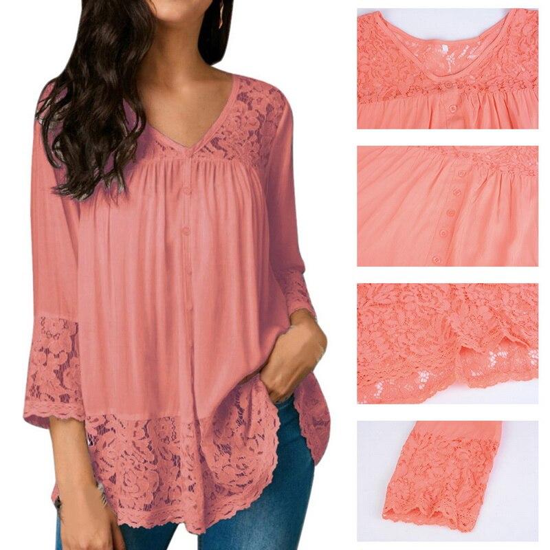 NIBESSER Женская кружевная Лоскутная Блузка 5XL, большие размеры, рубашки с v-образным вырезом, женские свободные блузки на осень, весну, в богемно...