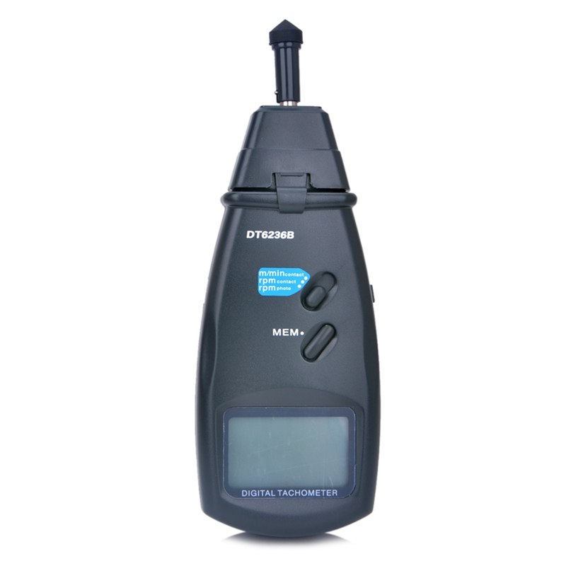 Digital Laser Contact Tachometer 2in1 Photo Tach 99999 RPM Contact Tach Speedometer Surface Speed Meter Data Storage DT6236B laser type tachometer portable digital tachometer