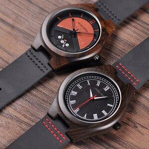Image 3 - בובו ציפור קלאסי עגול שחור אבוני עץ שעונים עבור גברים עור קוורץ שעון במכירות להתמודד